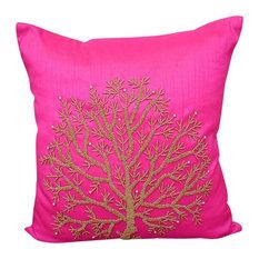 "Fuchsia Pink Accent Pillow Covers Art Silk 20""x20"" Beaded, Fuchsia Tree Of Life"