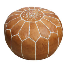 Moroccan Pouffe Pouf Footstool Stuffed Genuine, Natural Tan Leather