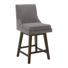 Modern Counter Stool, Swiveling Padded Seat With Tufted Curved Backrest, Dark Gr