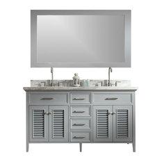 "Kensington Vanity, Gray, 60""x21.5""33.5"", Double Sink"