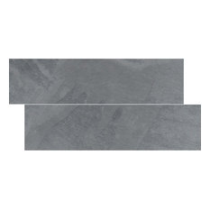 "6""x24"" Brazilian Gray, Montauk Blue, Cleft Slate Herringbone Tile, Set of 50"