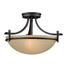 """Somerville 15"""" Bronze Mission Semi Flush Ceiling Light/Pendant"""