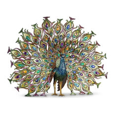 Jay Strongwater Stanton Fan Tail Peacock Figurine Peacock Finish