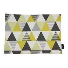 McAlister Textiles Vita Place Mats Triangle Print, Set of 4, Ochre Yellow