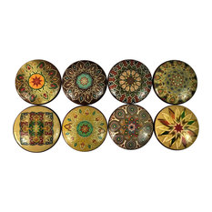 8 Piece Set Brown and Gold Mandala Cabinet Knobs