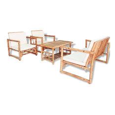 vidaXL Garden Lounge Set 4 Pieces with Cushions Rustic Bamboo Sofa Armchair