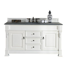 "Brookfield 60"" Single Cabinet, Cottage White, 2CM Black Rustic Stone Top"