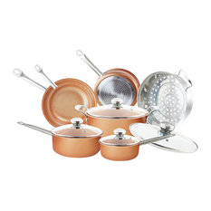Grand Innovation - Copper Nonstick Cookware Set, 7-Piece Set - Cookware Sets