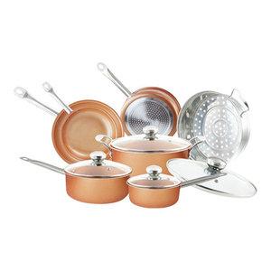 Nonstick Copper Coated Ceramic Cookware Set Kitchen Pots & Pans, 11-Piece Set