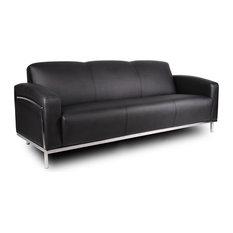 Boss Black Caressoft Plus Sofa With Chrome Frame