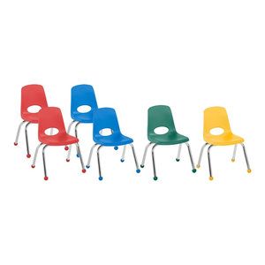 "Factory Direct Partners 12"" School Stack Chair Ball Glide, 6-Piece, Assorted"