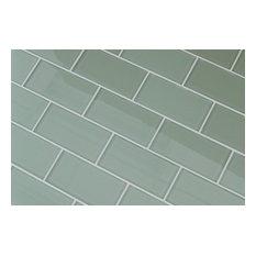 "Sage Green Glass Subway Tile, 3""x6"" Tiles, Set of 8"