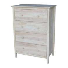 Rustic Dresser, Drawers With Euro Glides and  Butcher Block Top, Unfinished, 4 D