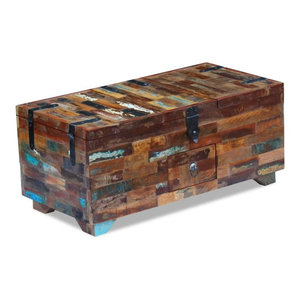 vidaXL Solid Reclaimed Wood Coffee Table Chest, 80x40x35 cm