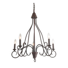 LNC 5-Light Rust Candle Chandelier Transitional Chandelier Lighting Candle