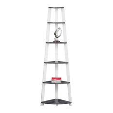 Corner Accent Etagere Bookcase, Gray/White