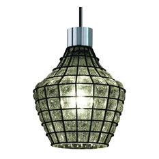 Justice Design Wire Glass 1-Light Large Double Curve Pendant, Polished Chrome