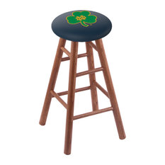 Oak Counter Stool Medium Finish With Notre Dame Shamrock Seat 24-inch