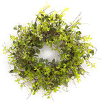 Melrose International - Oversized Mixed Foliage Wreath, Green - Large, oversized wreath with a mixture of foliage. The shades of greenery and twig base portray a realistic design and feeling.