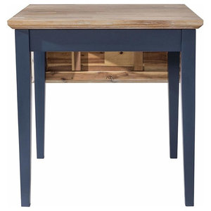 Square Extended Table, Hardwood With Oak Finished Top, Contemporary Style