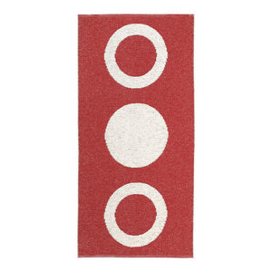 Circle Woven Vinyl Floor Cloth, Red, 70x250 cm