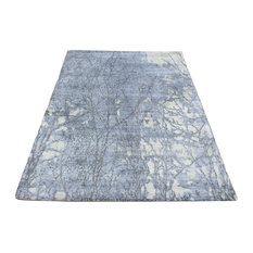 Hand Knotted Sky Blue Modern Abstract Oriental Rug With Silk, 8x10