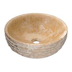 ANZZI Desert Chalice Natural Stone Vessel Sink, Classic Cream