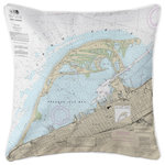 Island Girl Home, Inc. - Erie Harbor, Presque Isle, PA Nautical Chart Pillow - Size: 20x20. Material: 100% Polyester, pre-shrunk. Details: Double-sided print with piping and invisible zipper. Insert: Polyfill. Care: Spot clean or machine wash with mild detergent on delicate cycle, air dry. Do not tumble dry. Do not dry clean. Made in the USA. Island Girl Home, Inc.