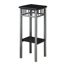 Accent Table, Black, Silver Metal