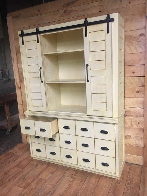 Hutch Dresser With Sliding Barn Doors