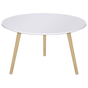 Contemporary Round Coffee Table, MDF Top and Solid Wood Legs