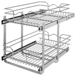 """Rev-A-Shelf - Two-Tier Pull-Out Baskets, 14.75""""w X 22""""d X 19""""h - Rev-A-Shelf's redesigned Two-Tier baskets make other 2-shelf units fail in comparison. With the heavy gage construction, ball-bearing slides on both baskets, and multiple mounting points this is the best two-tier unit on the market. With 100lb slides on each basket you don't have to worry about overloading or bending. Multiple sized width and depths are available, so you are sure to find the exact unit that fits your exact cabinet size. Optimize the performance, by adding the optional door mount kit to add a truly one-step opening/closing process (sold separately - 5WB-DMKIT) This unit features:"""
