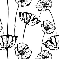 Poppy Sketch Wallpaper, Black and White, Paste The Wall