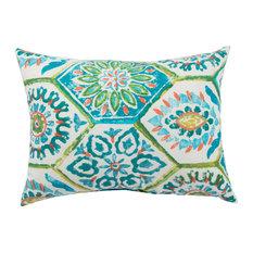"Jaipur Living Summer Breeze Aqua Floral Indoor/Outdoor Throw Pillow, 13""x18"""