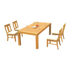 """5-Piece Outdoor Teak Dining Set, 86"""" Rectangle Table, 4 Osbo Armless Chairs"""