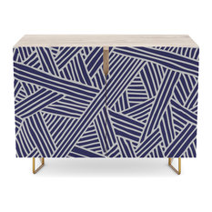 Society6 Credenza, Abstract Navy Blue and White Lines and Triangles Pattern