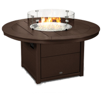 "Polywood Round 48"" Fire Pit Table, Mahogany"