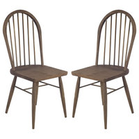 Mercana Hardwood Set Of 2 Dining Chair With Walnut Brown Finish 67497