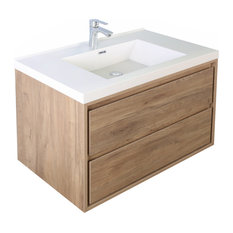 MOM 42-inch Wall Mounted Vanity With 2 Drawers And Acrylic Sink Teak Oak