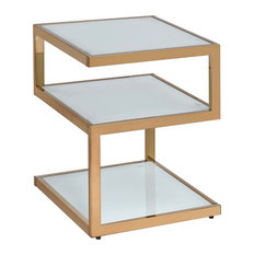 Art Deco Collection End Table Frosted Glass With Champagne