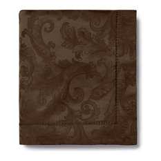 Sferra Acanthus Tablecloth and 8 Napkins Chocolate, 70x144
