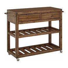 Transitional Kitchen Cart Hardwood Construction With Acacia Veneer