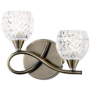 Boyer Wall Light With Cut Glass Shade, Antique Brass