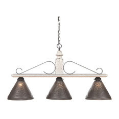 Wood and Wrought Iron Bar Island Light With Punched Tin Shades, Vintage White