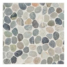 """11.81""""x11.81 """" Countryside Sliced Round Mosaic, Dark Blend"""