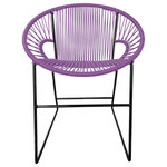Innit Designs - PuertoDiner, Orchid on Black - The Puerto Sled Chair is designed for commercial  and residential spaces as a dining chair or side chair for both outdoors  and in.  With a similar design but a smaller footprint than our Concha  chair, the Puerto Sled fits into smaller spaces.  It has a generous  backrest and since it's a woven rather than a fully closed construction,  it keeps the aesthetic of the rest of your designed space feeling very  open.The Puerto Sled Chair is comfortable, many say surprisingly  comfortable, without a cushion and is made to last stylishly for years  with its durable powder coated steel frame and colorfast, UV-resistant  woven vinyl cord.  Also available in Chrome and copper plated /  rose-gold frame finishes - suitable for indoor use only.  Proudly  handmade in Toronto.