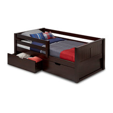 Twin Day Bed With Front Guard Rail and Drawers, Panel Headboard, Cappuccino
