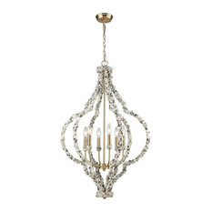 Six Light Quatrefoil Chandelier Agate Accents and Exposed Bulbs   Satin Brass