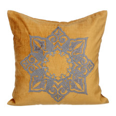 "Velvet Applique 22""x22"" Cotton Velvet Gold Cushion Covers, Designzillas"