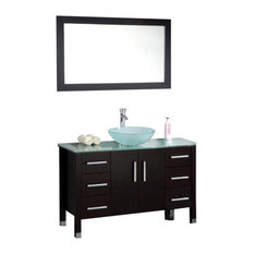 "Cambridge 48"" Solid Wood Glass Vessel Sink Vanity Set, Polished Chrome Faucet"